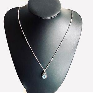 Jewelry - 925 S SILVER BLUE TOPAZ & ZIRCON PENDANT NECKLACE